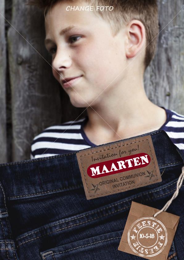 Communiekaarten - Communie JEANS stoer Jongen Foto