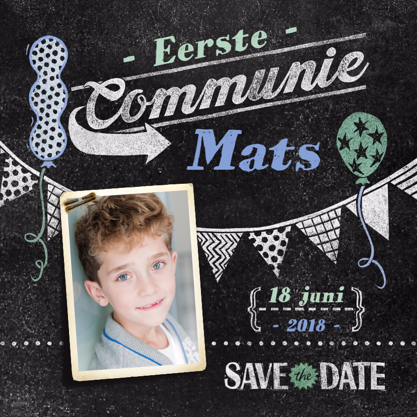 Communiekaarten - communie jongen krijtbord