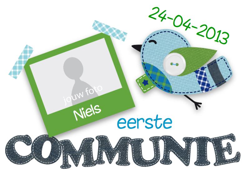 Communiekaarten - Communie Jongen Vogeltje