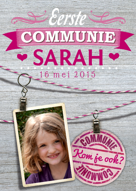 Communiekaarten - communie kaart waslijn meisje