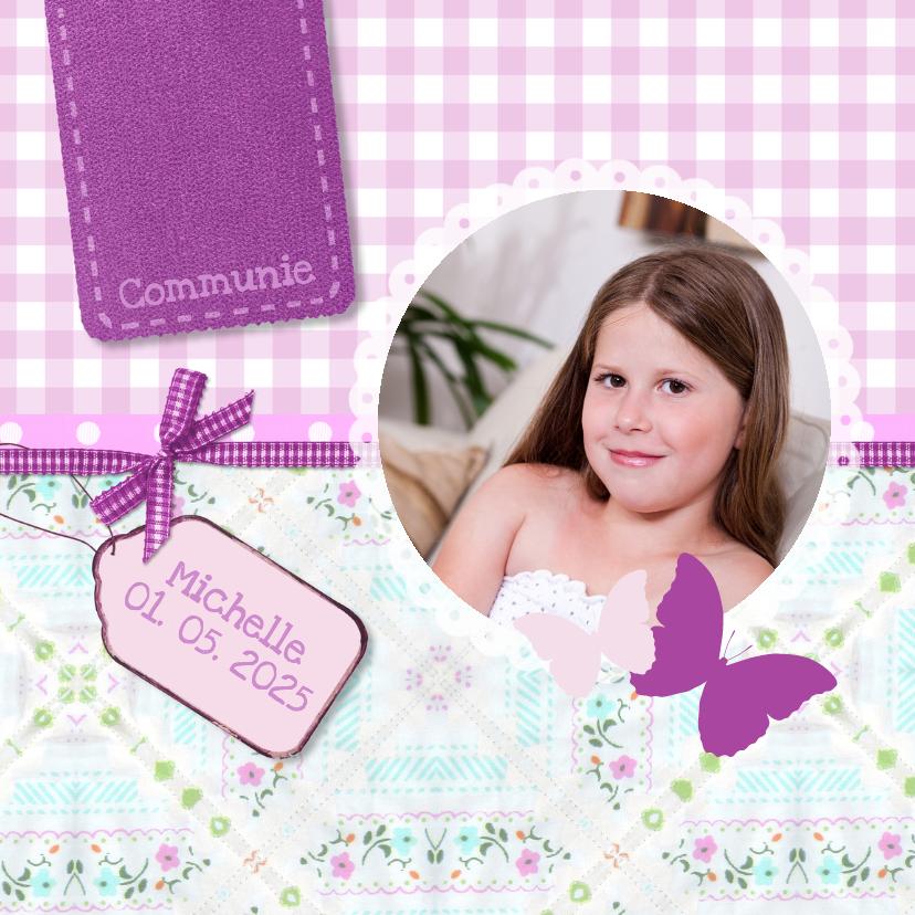 Communiekaarten - Communie kleurig paars - BK