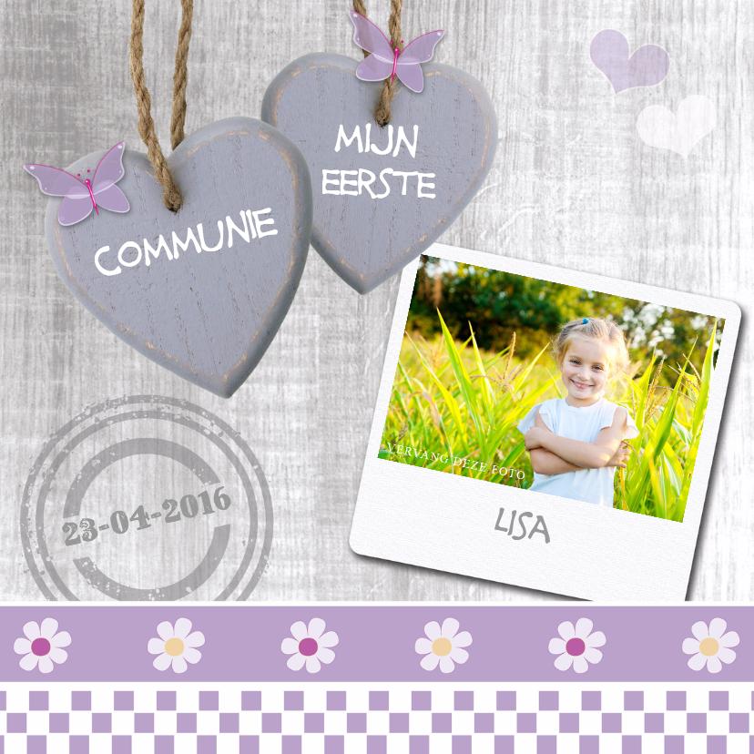 Communiekaarten - Communie lila met harten en foto