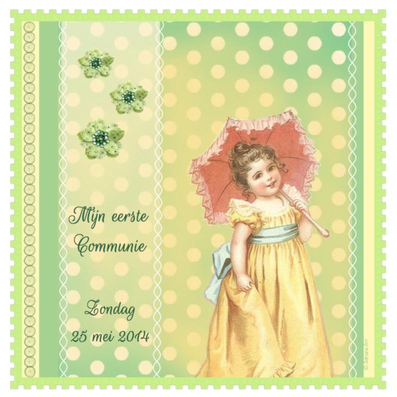 Communiekaarten - Communie meisje nostalgisch