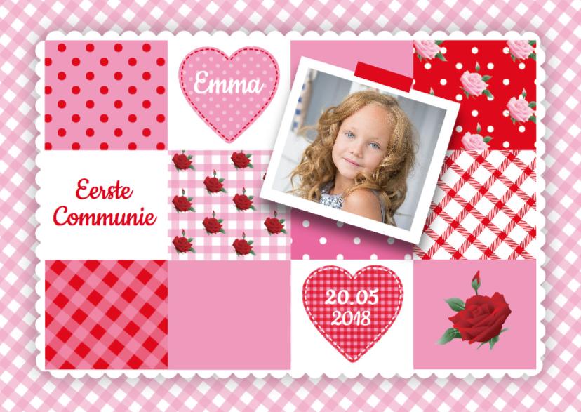 Communiekaarten - Communie meisje patchwork
