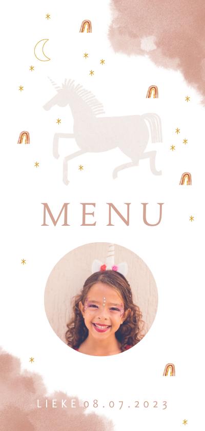 Communiekaarten - Communie menukaart stijlvol unicorn en regenboogjes
