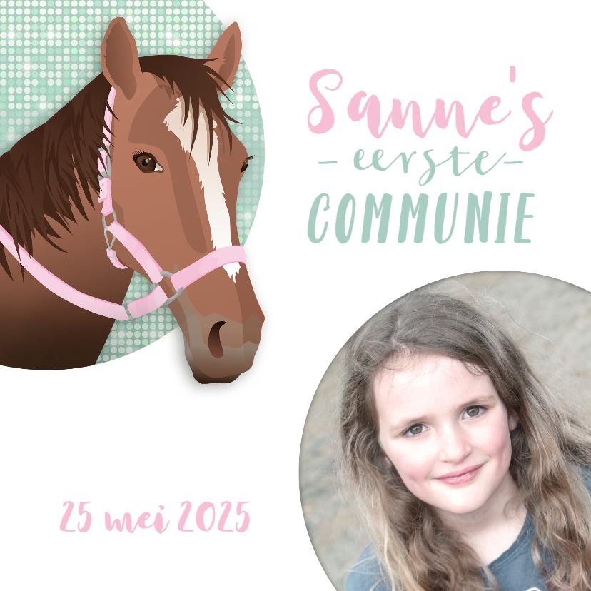 Communiekaarten - Communie paard meisje roze vormsel