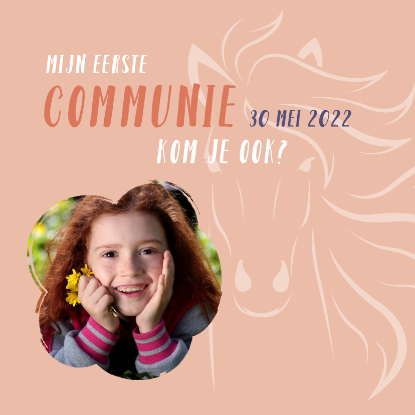 Communiekaarten - communie paard meisje