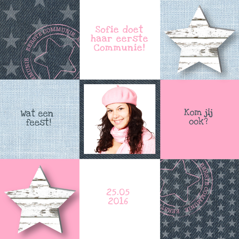 Communiekaarten - Communie Pink&Blue Stars Girl