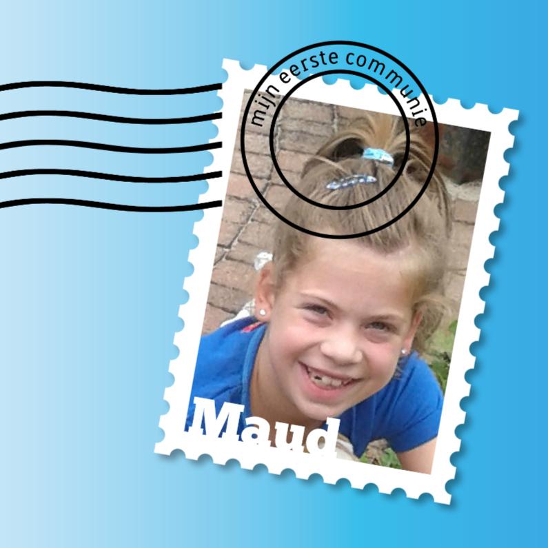 Communiekaarten - communie postzegel meisje