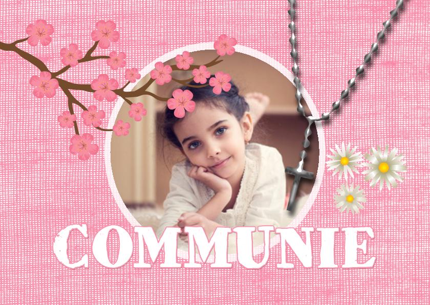 Communiekaarten - Communie roze bloemen - DH