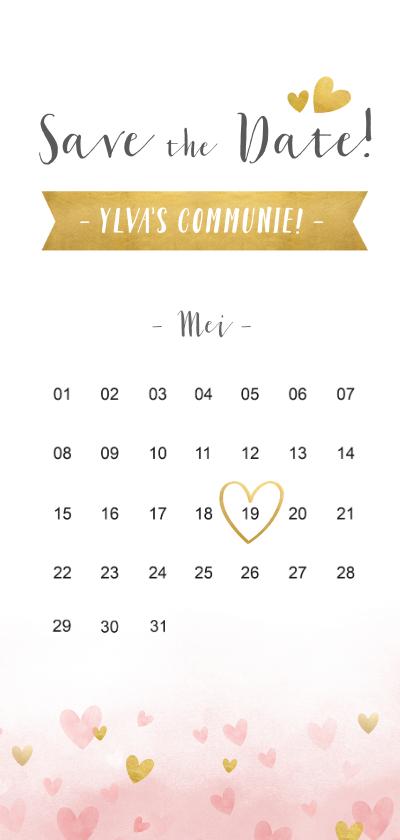 Communiekaarten - Communie Save the Date kaart met gouden en roze hartjes