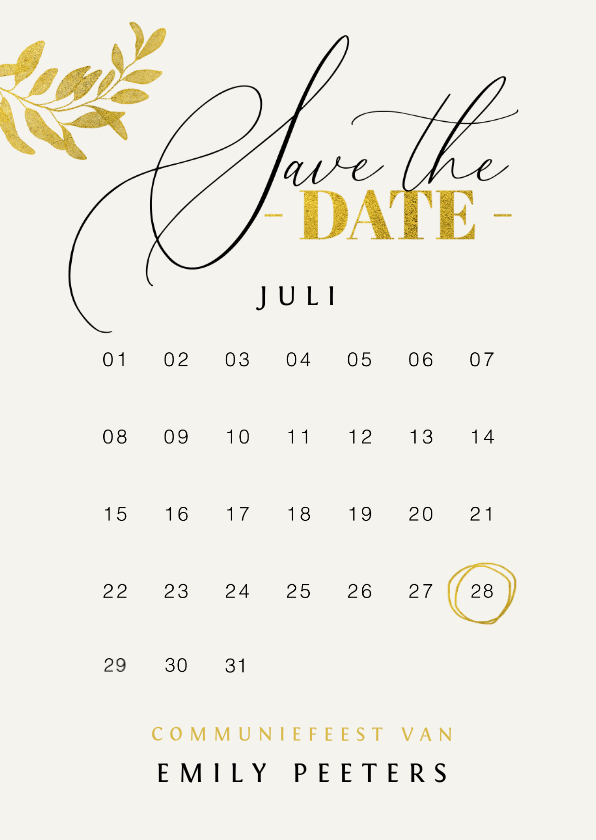 Communiekaarten - Communie save the date uitnodiging meisje goud bladeren verf