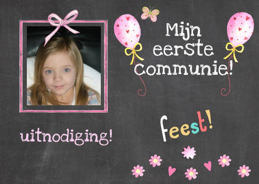 Communiekaarten - communie schoolbord foto