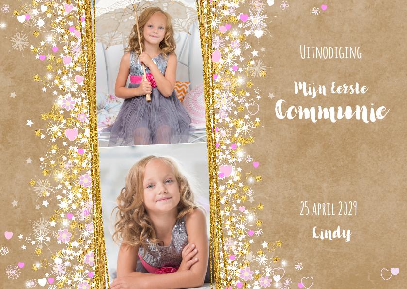 Communiekaarten - Communie stijlvolle uitnodiging hartjes bloemen sterren