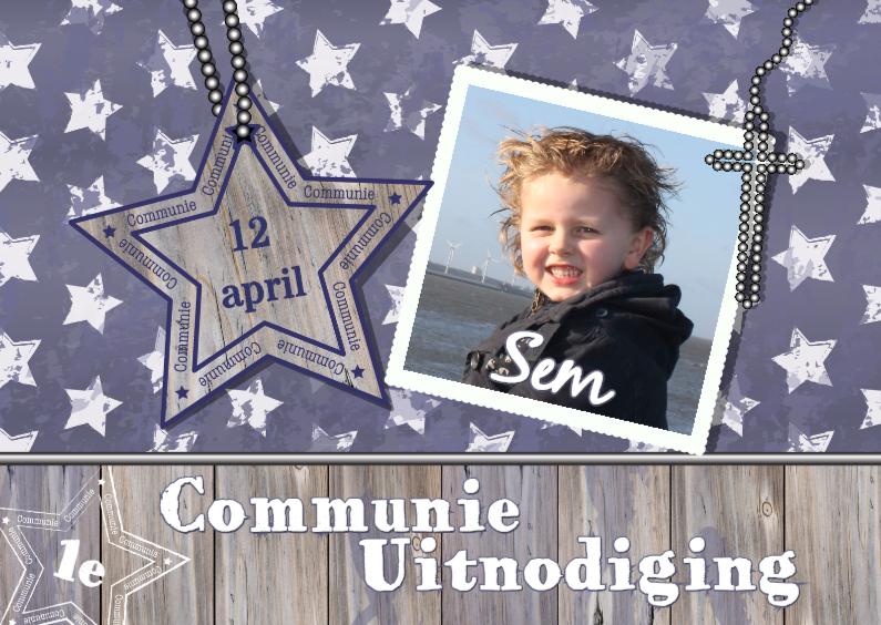 Communiekaarten - Communie Stoer Blauw ster hout L
