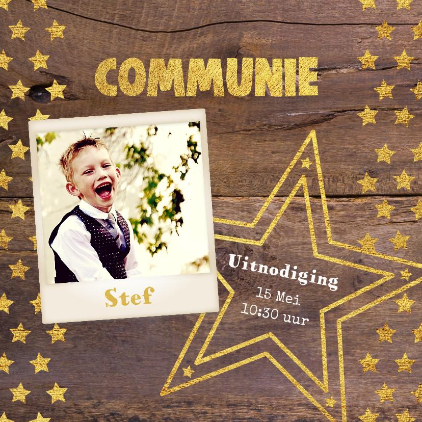 Communiekaarten - Communie stoere fotokaart hout en sterren