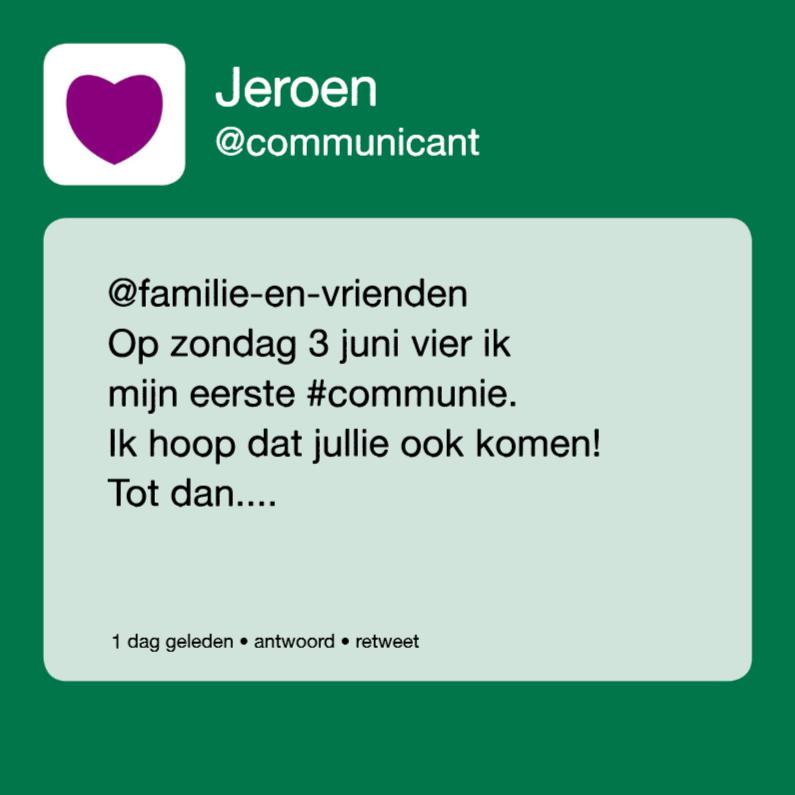 Communiekaarten - communie tweet jongen