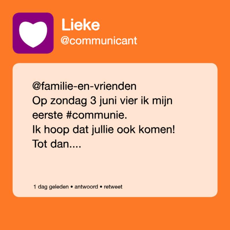 Communiekaarten - communie tweet meisje