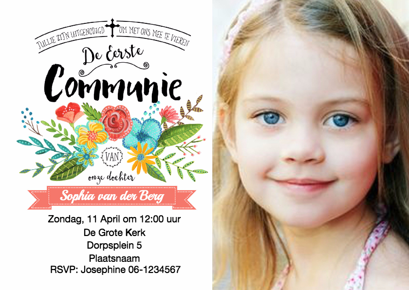 Communiekaarten - Communie uitnodiging bloem