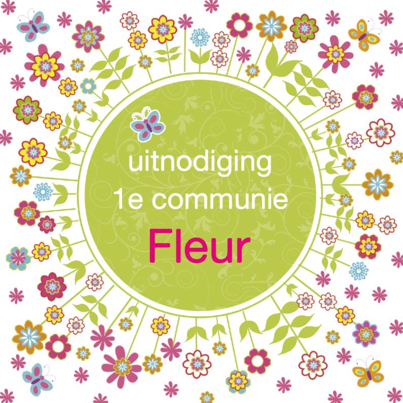 Communiekaarten - communie uitnodiging bloemen