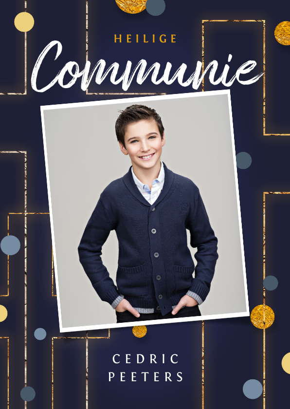 Communiekaarten - Communie uitnodiging christelijk goud confetti foto