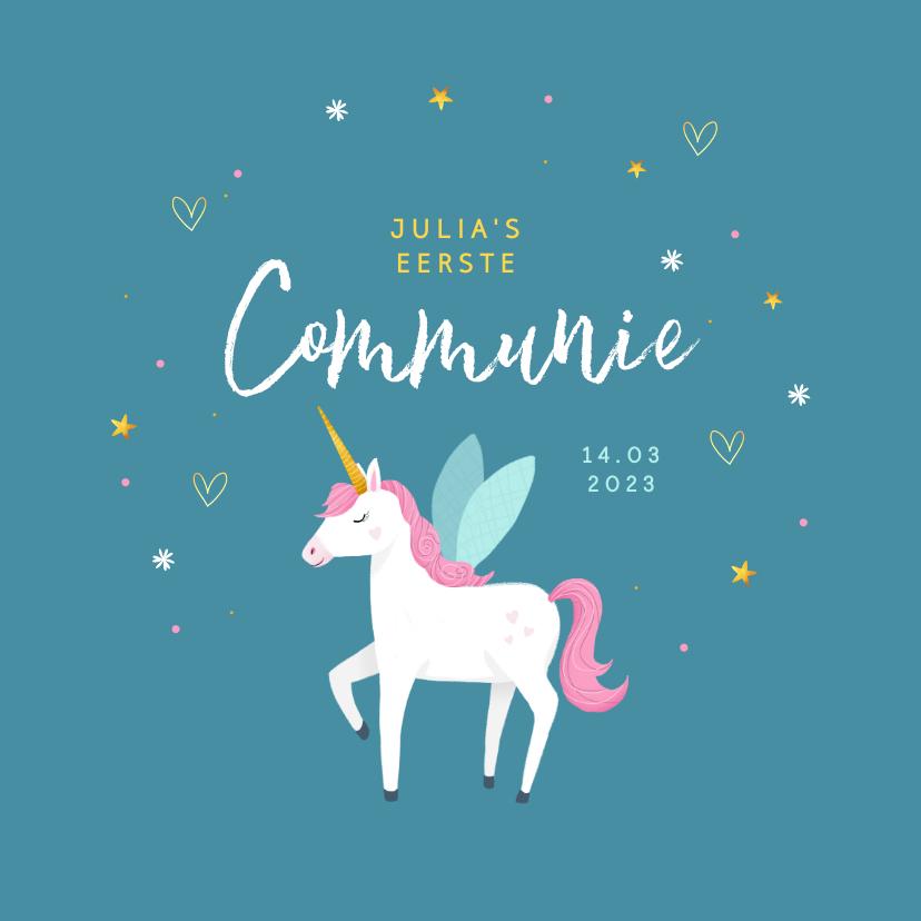 Communiekaarten - Communie uitnodiging eenhoorn unicorn goud blauw