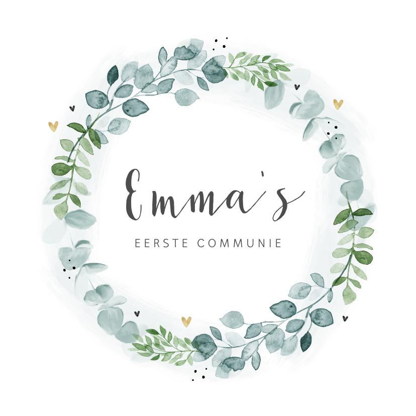 Communiekaarten - Communie uitnodiging eucalyptus krans gouden hartjes