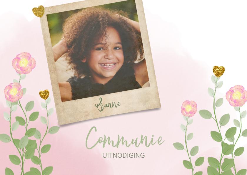 Communiekaarten - Communie uitnodiging foto waterverf bloemen en hartjes