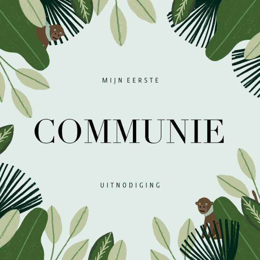 Communiekaarten - Communie uitnodiging hip met jungle planten en aapjes