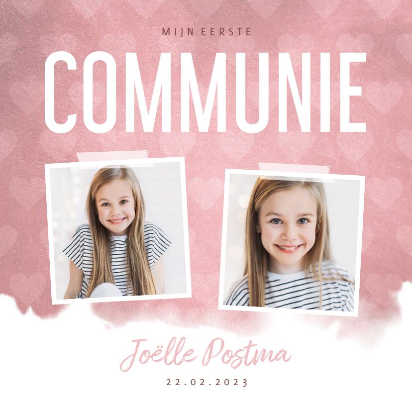Communiekaarten - Communie uitnodiging hip waterverf roze met hartjes