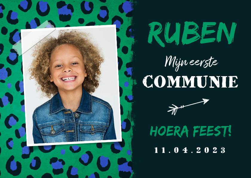 Communiekaarten - Communie uitnodiging jongen dierenprint groen blauw