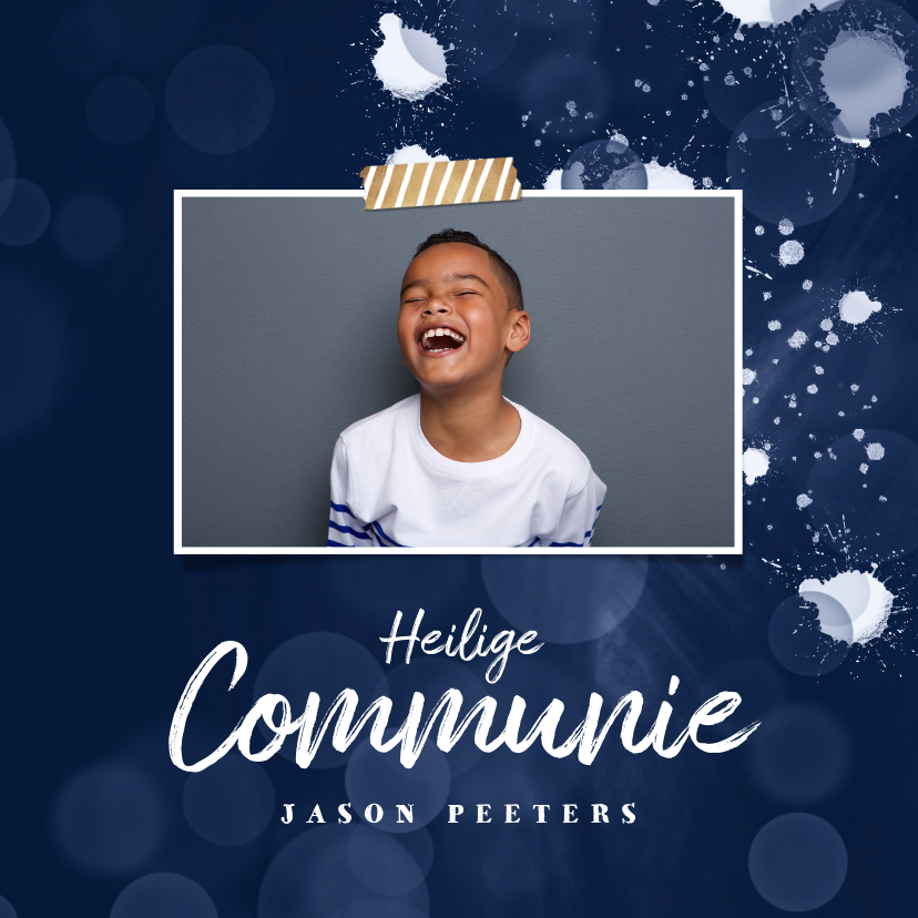Communiekaarten - Communie uitnodiging jongen spetters foto stijlvol blauw