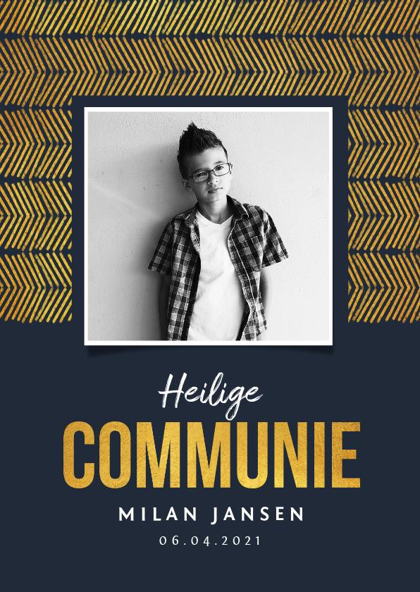 Communiekaarten - Communie uitnodiging jongen stijlvol goud foto