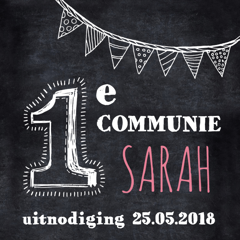Communiekaarten - Communie uitnodiging krijtbord