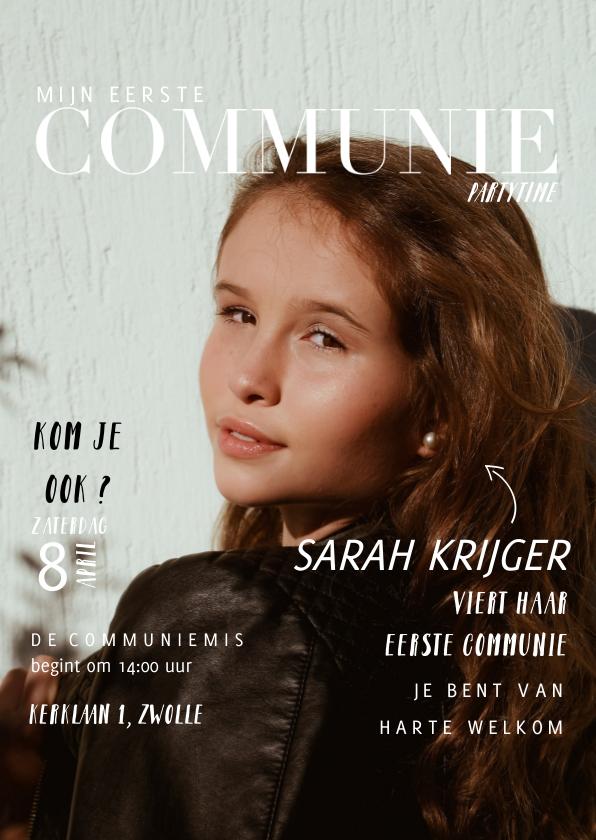 Communiekaarten - Communie uitnodiging magazine kaart met foto en teksten