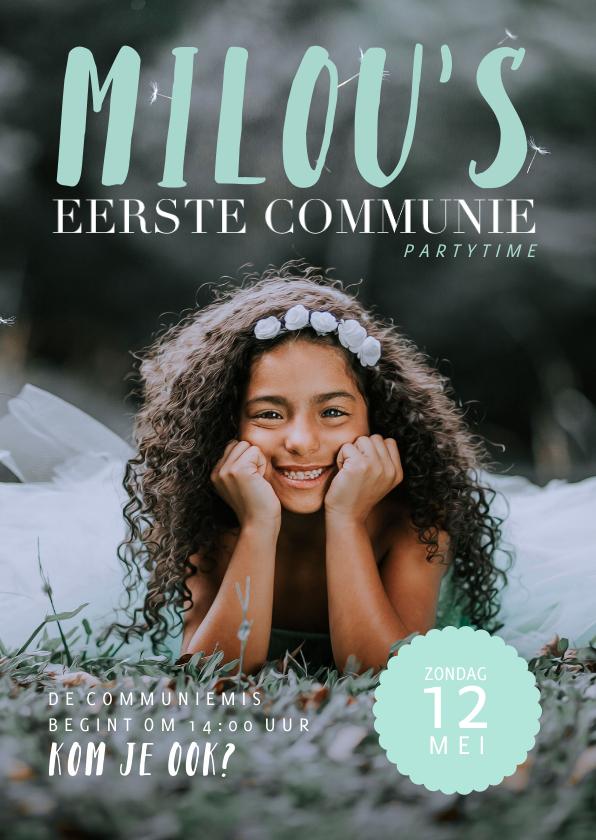 Communiekaarten - Communie uitnodiging magazine stijl met foto en teksten