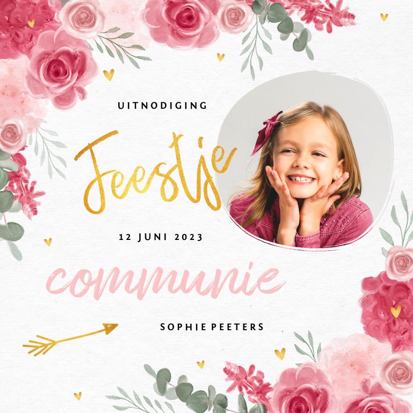 Communiekaarten - Communie uitnodiging meisje bloemen hartjes goud