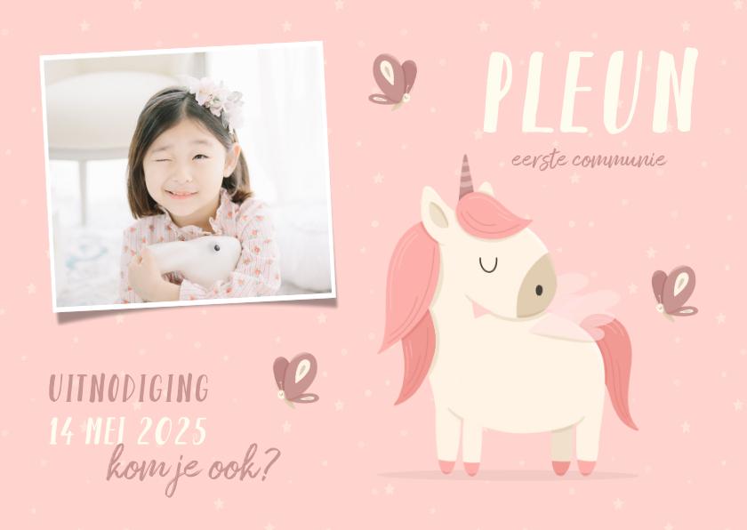 Communiekaarten - Communie uitnodiging met foto, vlinders en unicorn