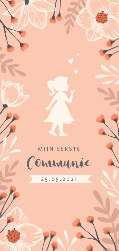 Communiekaarten - Communie uitnodiging met stijlvolle bloemen en silhouet