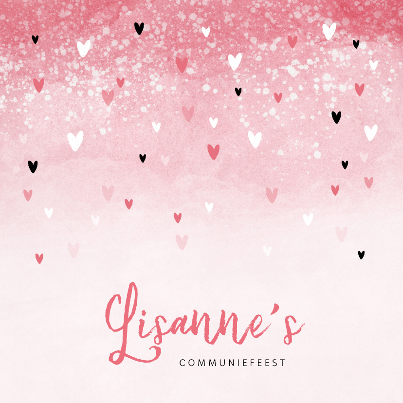 Communiekaarten - Communie uitnodiging roze zwarte hartjes meisje