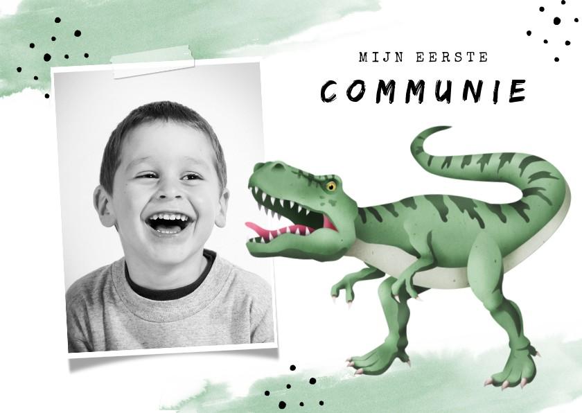 Communiekaarten - Communie uitnodiging stoer dino waterverf foto