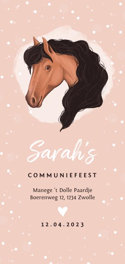 Communiekaarten - Communie uitnodiging thema paard roze