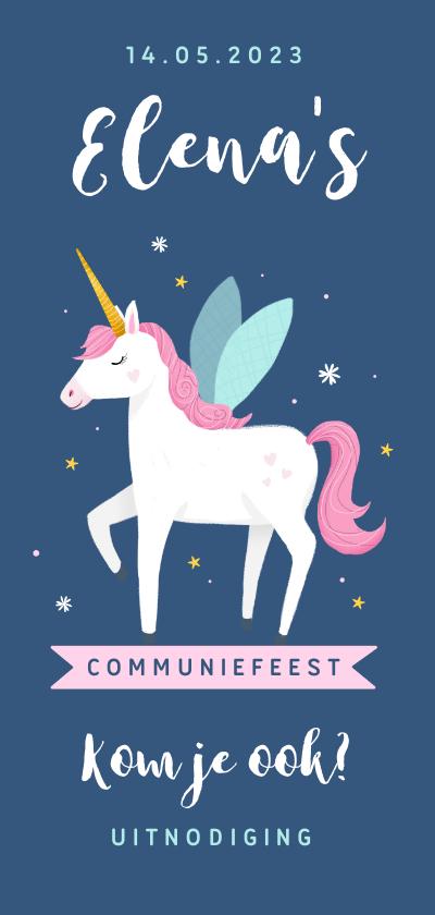 Communiekaarten - Communie uitnodiging unicorn eenhoorn feestje meisje