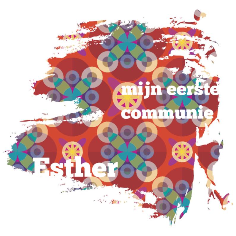 Communiekaarten - communie vlek bloemen