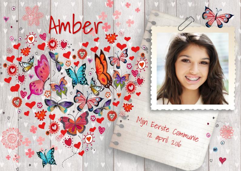 Communie Vlinders Hartje hout meisje 1