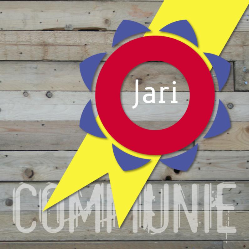 Communiekaarten - communie zegel op hout