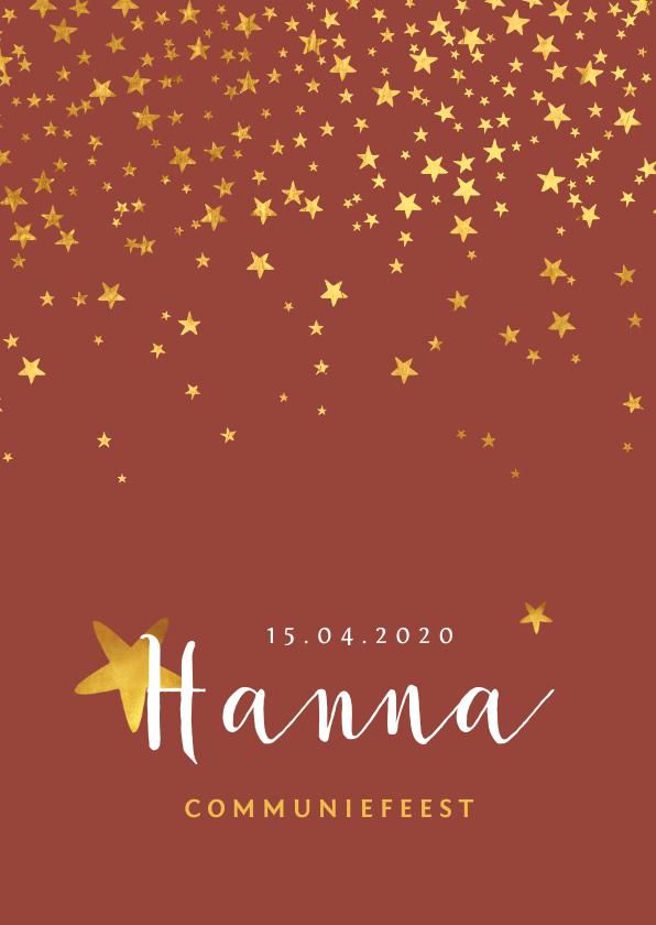 Communiekaarten - Communiefeest uitnodiging meisje stijlvol goud sterren