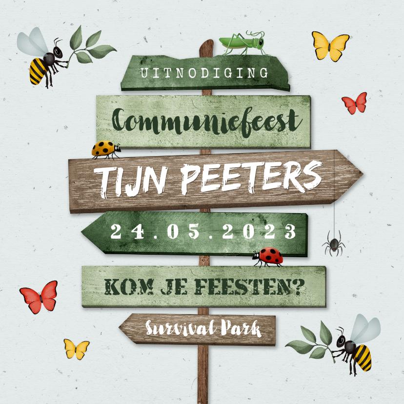 Communiekaarten - Communiefeest uitnodiging wegwijzers tuinfeest insecten