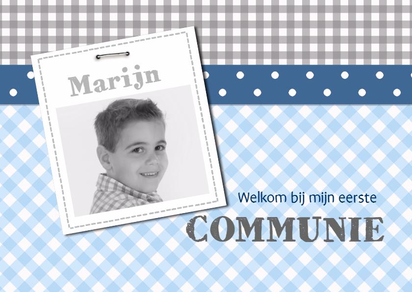 Communiekaarten - Communiekaart blauw grijs met foto