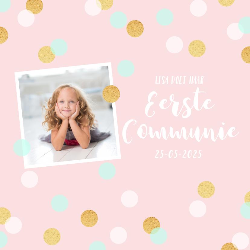 Communiekaarten - Communiekaart confetti foto meisje